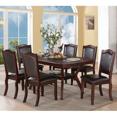 Wegman 7 Piece Dining Set Upholstery Color: Black