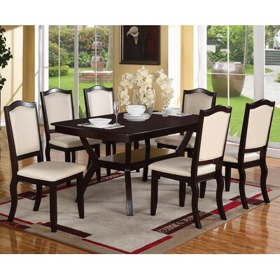 Charles 7 Piece Dining Set Upholstery Color: Cream