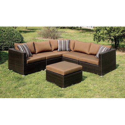 Heidi Sectional with Cushions Finish: Dark Beige