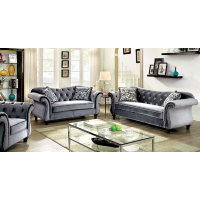 Jolly Sofa Color: Gray, Nailhead: Polished Nickel