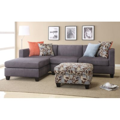 Alvin Reversible Chaise Sectional Upholstery: Charcoal