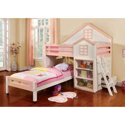 Rachel Twin Loft Bed with Storage Finish: White/Pink