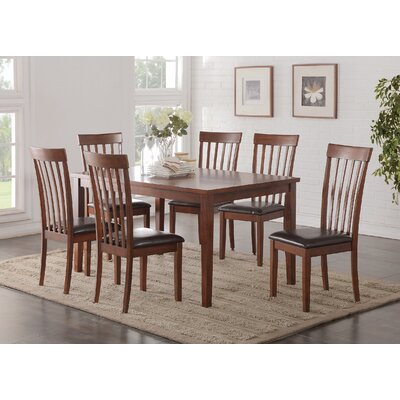 Longwood 7 Piece Dining Set Upholstery: Cherry