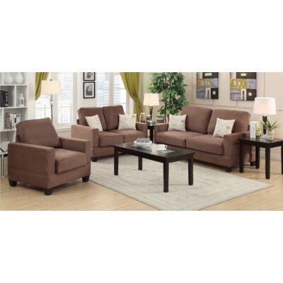 Pandora 3 Piece Living Room Set Finish: Peat