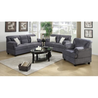 Penny 3 Piece Living Room Set Finish: Grey