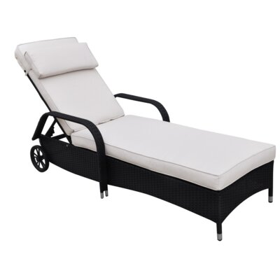 Diana Chaise Lounge with Cushion Fabric: White