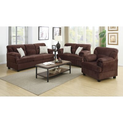 Penny 3 Piece Living Room Set Finish: Chocolate
