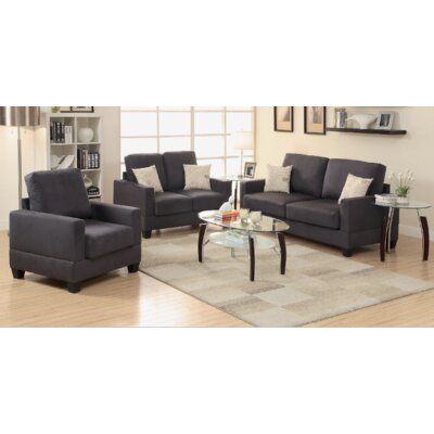 Pandora 3 Piece Living Room Set Finish: Ebony