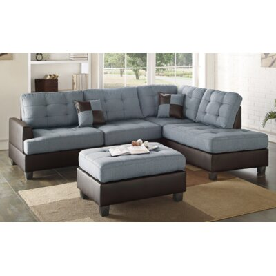 Furniture-Smart Sleeper Sectional Upholstery Gray