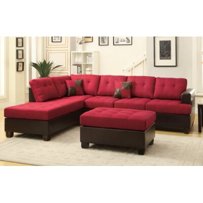 Michael Reversible Chaise Sectional Upholstery: Red