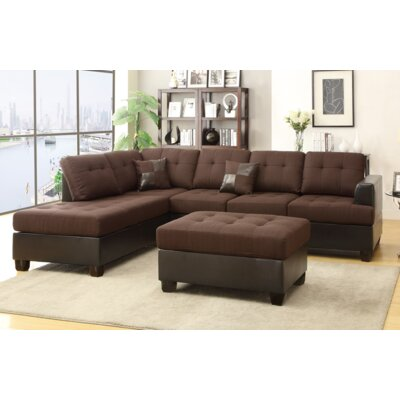 Michael Reversible Chaise Sectional Upholstery: Chocolate