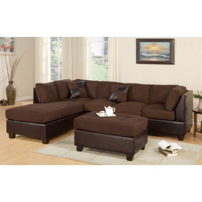 Miller Sectional with Ottoman Upholstery: Chocolate