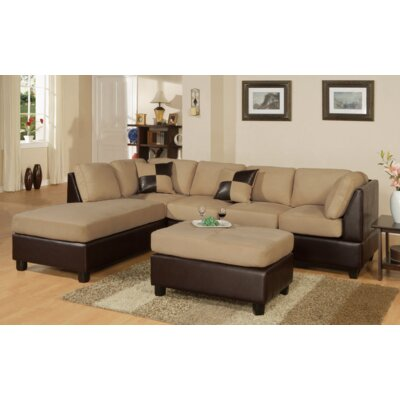 Miller Reversible Chaise Sectional Upholstery: Hazelnut