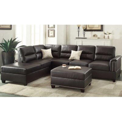 Eddie Reversible Sectional with Ottoman Upholstery: Espresso