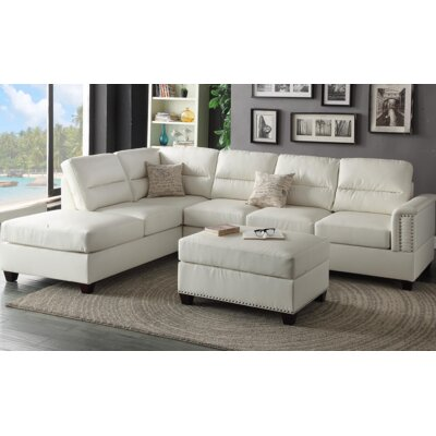 Eddie Reversible Chaise Sectional Upholstery: White