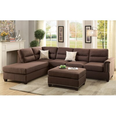 Andy Sectional with Ottoman Upholstery: Chocolate