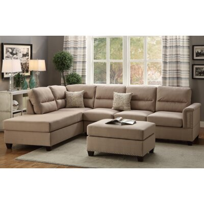 Andy Reversible Chaise Sectional Upholstery: Sand