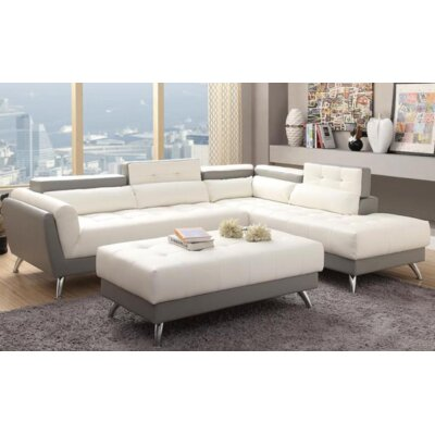 Tommy Sectional Upholstery: White/Light Gray