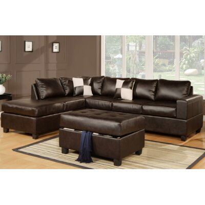 Lia Reversible Chaise Sectional Upholstery: Espresso