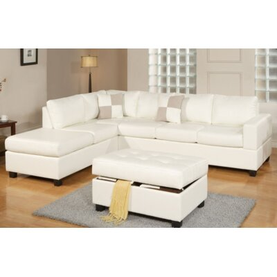 Lia Reversible Sectional Upholstery: White