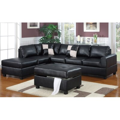 Lia Reversible Chaise Sectional Upholstery: Black