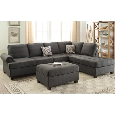 Zoe Sectional Upholstery Color: Black