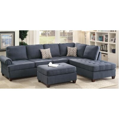 Zoe Sectional Upholstery Color: Blue