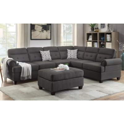 Wendy Reversible Chaise Sectional Upholstery Color: Black
