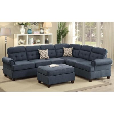 Wendy Reversible Chaise Sectional Upholstery Color: Blue