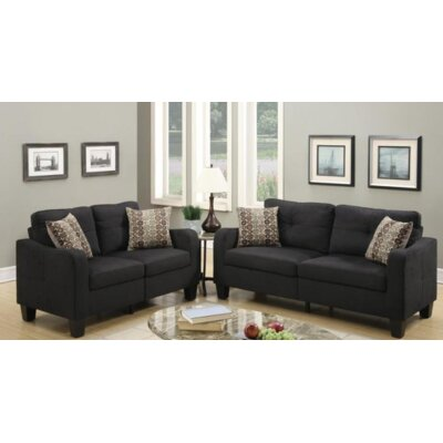 Lincon Sofa and Loveseat Set Upholstery Color: Black