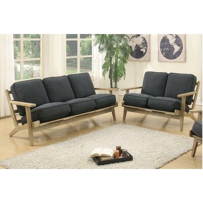 Katarina Sofa and Loveseat Set Upholstery: Charcoal