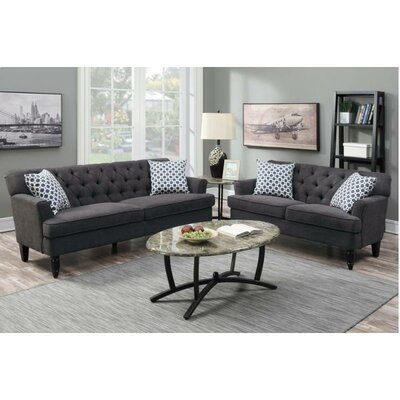 Angel 2 Piece Living Room Set Upholstery: Slate