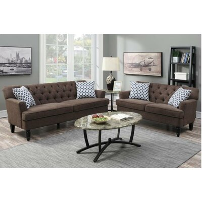 Angel Sofa and Loveseat Set Upholstery: Dark Brown