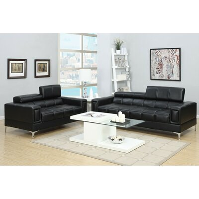 Alisa 2 Piece Living Room Set Upholstery: Black