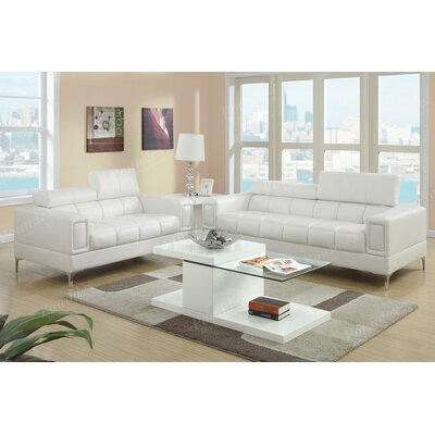 Alisa 2 Piece Living Room Set Upholstery: White