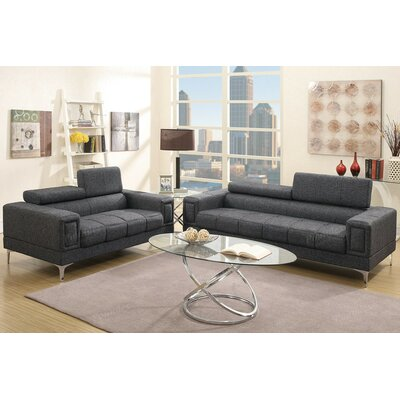 A&J Homes Studio F7W2A4J8BLK Stacy Sofa and Loveseat Set