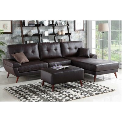 Batson Leather Sectional Upholstery: Brown