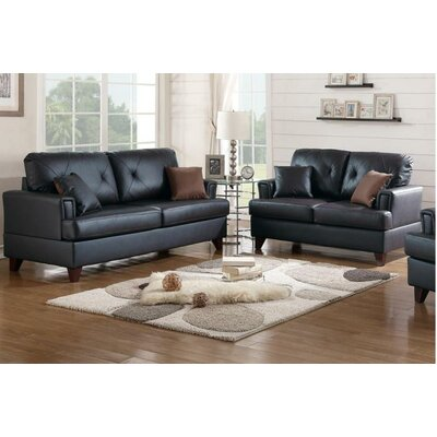 Wesly Sofa and Loveseat Set Upholstery: Black