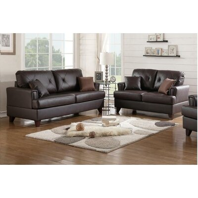 Wesly Sofa and Loveseat Set Upholstery: Brown