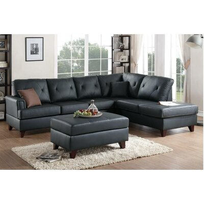 Pinky Reversible Sectional Upholstery: Black