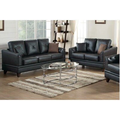 Adrina 2 Piece Living Room Set Upholstery: Black