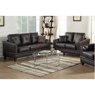 Adrina Sofa and Loveseat Set Upholstery: Brown
