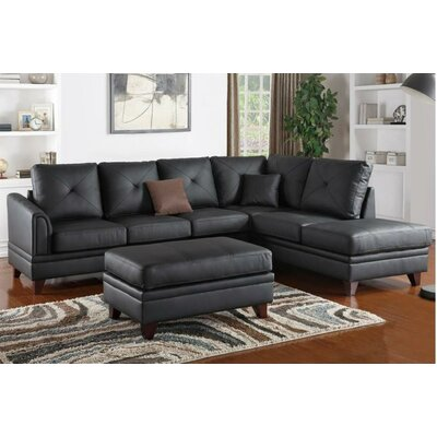 Jurupa Leather Sectional Upholstery: Black