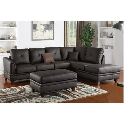 Jurupa Leather Sectional Upholstery: Brown