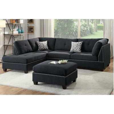 A&J Homes Studio F6WF9A7J4BLK Tammy Reversible Chaise Sectional