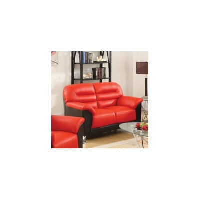 Tammy Loveseat Upholstery: Red/Black