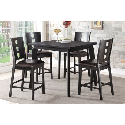 Mireya 5 Piece Counter Height Dining Set Finish: Black