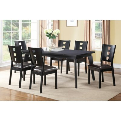Joey 7 Piece Dining Set Finish: Black