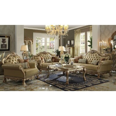 Lee 3 Piece Living Room Set Finish: Gold