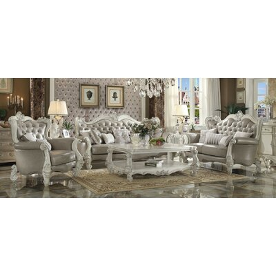 Queen 3 Piece Living Room Set Finish: Bone White